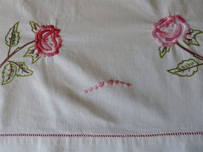 3fbcf1a3d3575 Antique French linen dowry sheet hand monogrammed PG hand embroidered pink  roses w drawnwork vintage wedding linens w heirloom embroidery