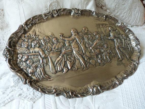 Antique Italian silver plate decorative wall dish plate tray