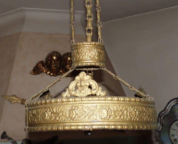 Illuminazione di decorazione floreale tono oro francese antico etsy