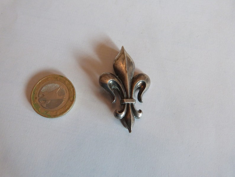 Large Antique French brooch pin French 1900s antique fleur de lis lys flower brooch jewelry pin unisex accessories accessory