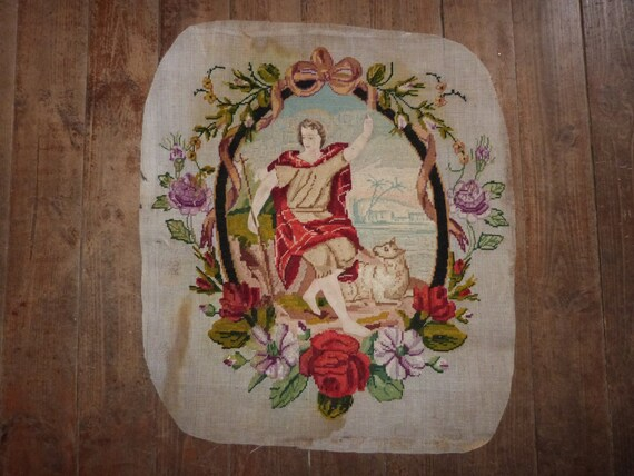 15 inches x 18 inches Carlo Dolci\u2019s Vierge Royal Paris Virgin Mary and Baby Jesus Vintage French Needlepoint Complete