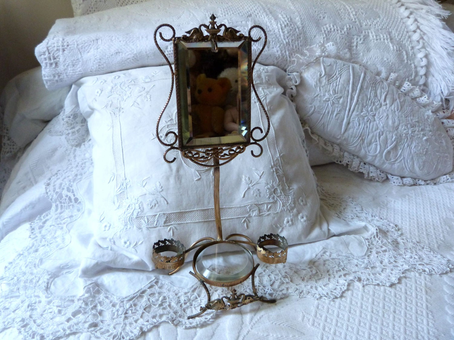 Antique French Vanity Mirror Stand W Ormolu Swans Beveled