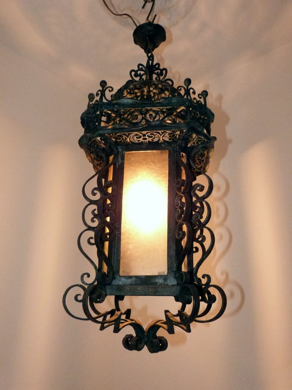 Antique French glass lantern chandelier LARGE iron lighting hanging ceiling light lamp, rustic farmhouse country cottage gothic home decor