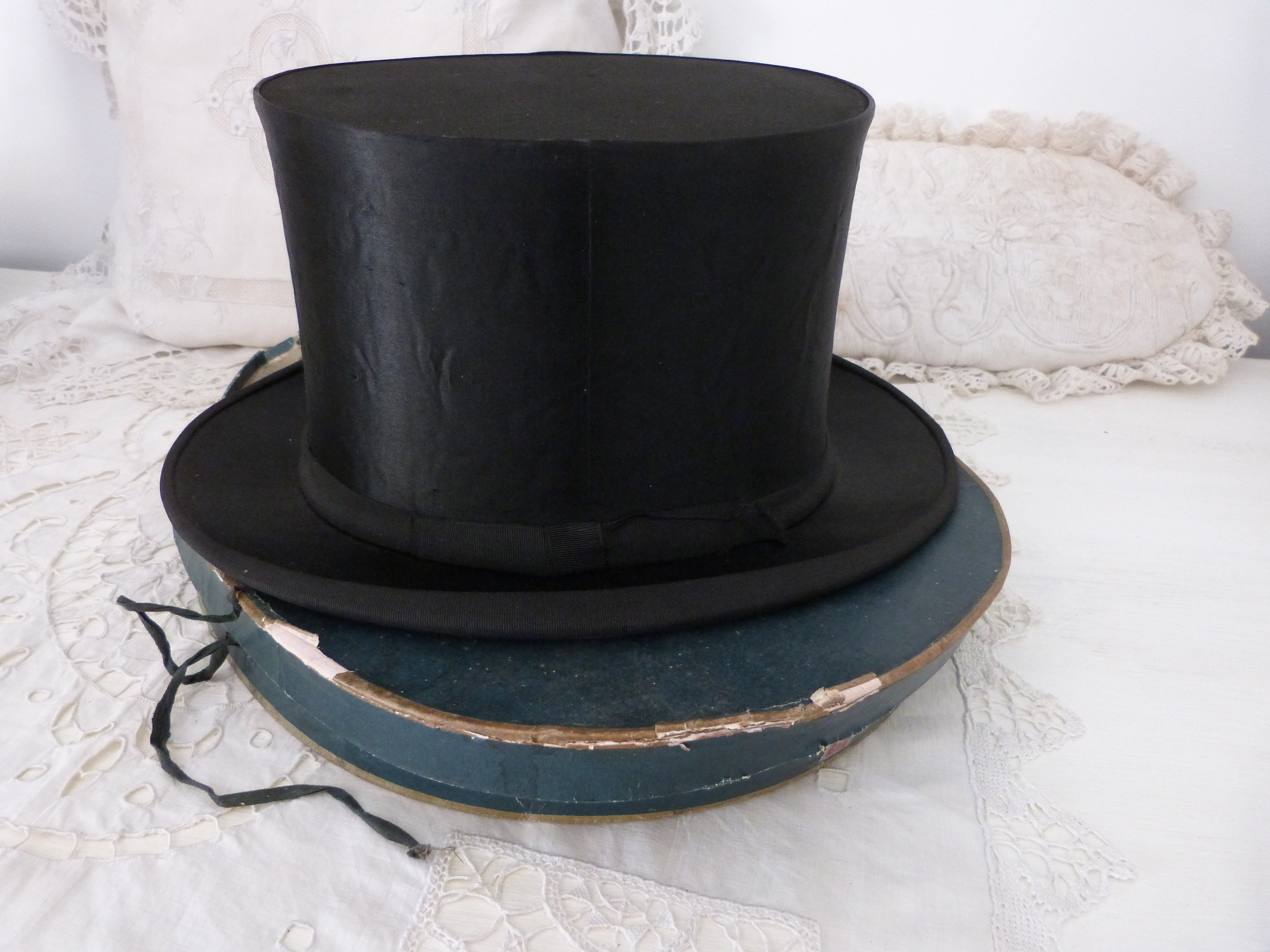 16005176f Antique French silk collapsible top hat Gibus w hat box black opera  steampunk top hat antique victorian mens top hat w stamps, green hatbox