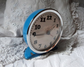 Vintage French blue alarm clock vintage ZOBO clock blue retro alarm clock 1950s w mechanical movement, vintage French retro home decoration