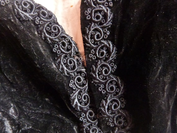 Victorian black velvet bolero jacket Antique Frenc