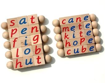The Original Montessori Reading Block Set, Phonetic and Silent E Reading Blocks, Educational Toys, Beginning Reader Tools