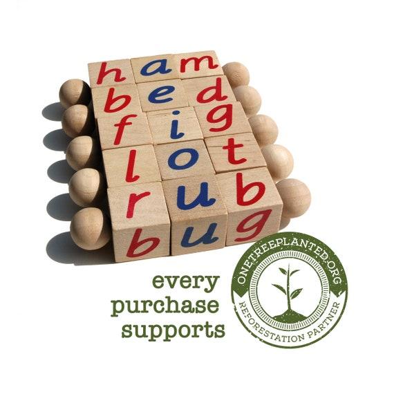 The Original Montessori Phonetic Reading Blocks an Eco Friendly Educational Toy Language Work