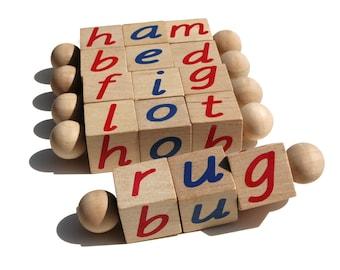 The Original Montessori Phonetic Reading Blocks an Eco Friendly Educational Toy - Language Work