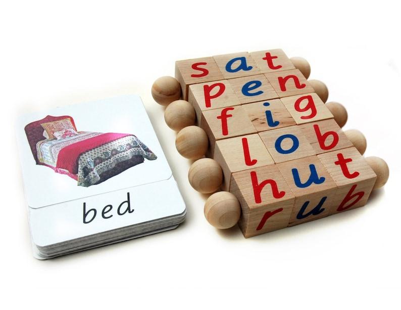 Block & Card Set Montessori Phonetic Reading Blocks with image 0