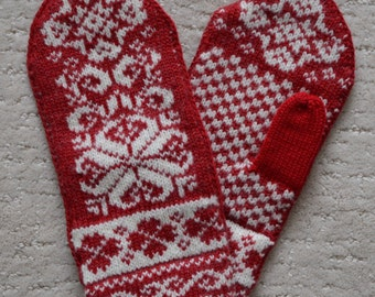 100% Wool Mittens Norwegian Scandinavian folk art, hand crafted wool gloves, Snowflake Fair Isle, Christmas gift for women, Red white