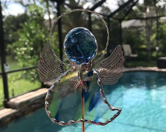 Garden Angels Plant Stake -Green and Blue Swirled Translucent glass with Starfish Charm - Memorial Marker - Beach Hostess Gift