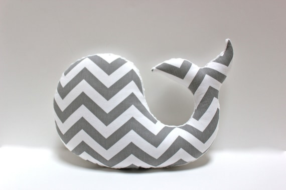 Sophisticated Modern Nautical Nursery: Items Similar To Modern Baby Chevron WHALE Pillow