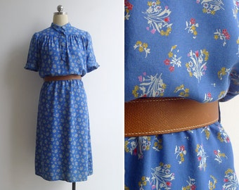 Vintage 70's Does 40's TOPSHOP Feedsack Floral Blue Collared Dress S or M