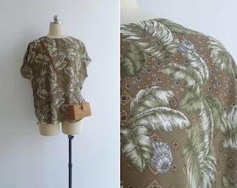 Vintage 80's Green 'Tropic Tile' Print Blouse M L XL