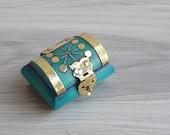 Vintage 70 39 s Turquoise Carved Bone Brass Trinket Case