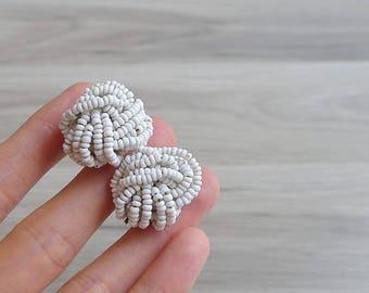 Vintage 60's White Seed Bead Knot Earrings