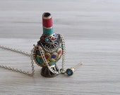 Vintage 80 39 s 39 Mosuo 39 Tibetan Ethnic Snuff Bottle Silver Necklace
