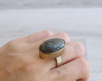 Vintage 70's Oval Quartz Crystal Silver Ring Size 7
