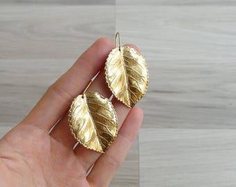Vintage 80's Gold Dipped Aspen Leaf Dangling Earrings