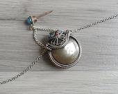 Vintage 80 39 s Tibetan Ethnic Snuff Bottle Silver Necklace