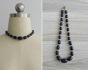 Vintage 80's Black & White Plastic Beaded Necklace