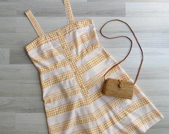 Vintage 80's Houndstooth Print Polka Dot Cotton Day Dress M