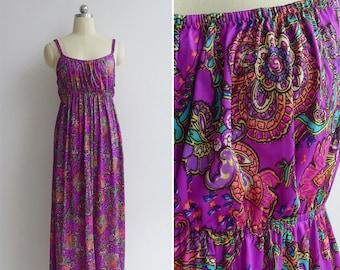 Vintage 70's Dayglo Neon Paisley Floral Print Low Back Maxi Dress S-M