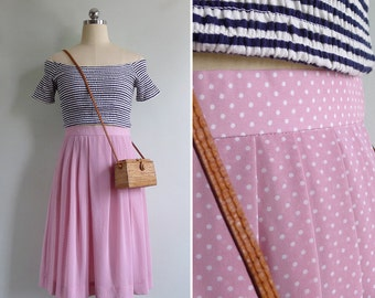 Vintage 80's Lilac Pink Polka Dot Pleated Skirt XS or S