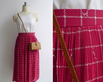Vintage 80's Siren Call Red Plissé Pleated A-Line Skirt XXS or XS
