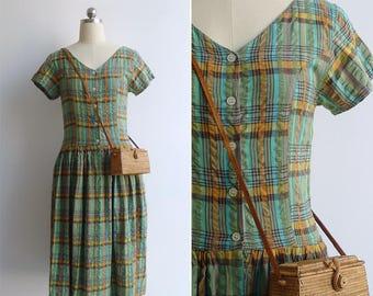 Vintage 80's Green Madras Plaid Dress S
