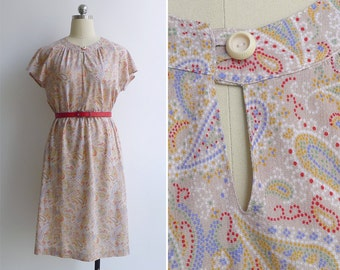Vintage 80's Paisley Print Keyhole Neck Flutter Sleeve Dress M L XL
