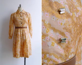 Vintage 70's Silk Sakuras Watercolor Cherry Blossom Print Shirt Dress XS or S