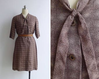 Vintage 80's 'Crosshatch' Brown Abstract Print Tie Collar Dress M or L