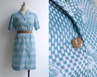 Vintage 70's Fruit Print Teal Blue Op Art Dress M or L
