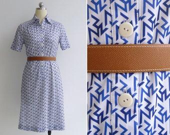 Vintage 80's Zig Zag Print Op Art Shirt Dress XS or S