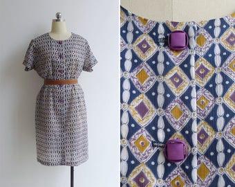 Vintage 70's Diamond Op Art Print Shift Dress XL XXL (Plus Size)