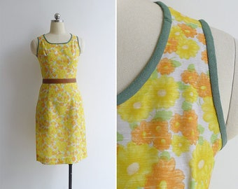 Vintage 70's 'Feedsack Floral' Daisy Cotton Wiggle Dress XXS or XS