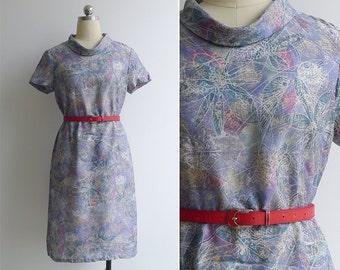 Vintage 60's Lilac Leaf Print Jackie O Collar Mod Dress S or M