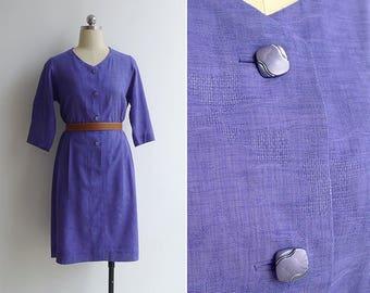 Vintage 80's Royal Purple Textured Blousy Dress M or L
