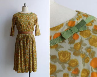 Vintage 50's Yellow Rose Floral Print Pleated Fit & Flare Dress S