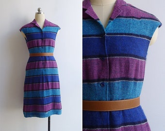 Vintage 70's 'Textile Tales' Open Weave Capped Sleeve Blue Dress S