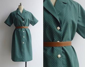 Vintage 70's Kitschy Green Polka Dot Shirt Dress XL or XXL