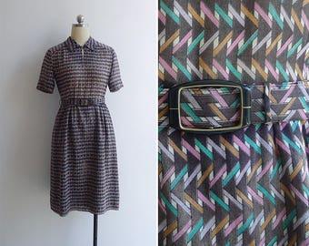 Vintage 80's 'Striped Pastel Bars' Geometric Print Dress with Belt XS or S