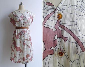 Vintage 80's 'Blush Florals' Abstract Print Blouson V-Neck Dress M or L