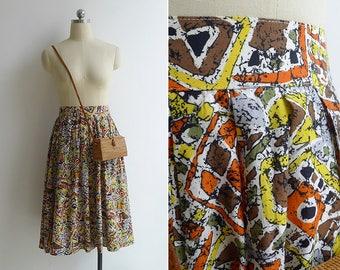 Vintage 80's 'Afrikka' Ethnic Print High Waist Pleated Skirt XS S M