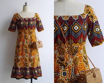 Vintage 80's African Diamond Tribal Print Square Neck Dress S or M