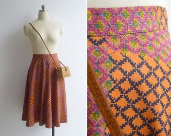 Vintage 80's 'Textile Tales' Woodblock Print Cotton Skirt XXS