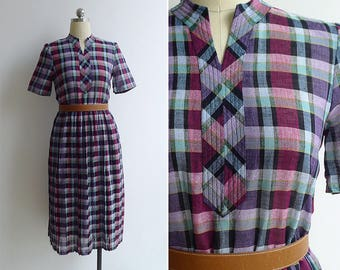 Vintage 80's Purple Madras Plaid Mandarin Collar Dress XS or S