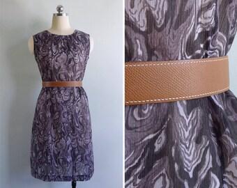 Vintage 60's Faux Bois Wood Grain Print Shift Dress M or L